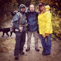 Chef Chris Whittaker of forage, Sou Chef Jeff Alexander of the Rim Rock Cafe and Margot Baloro of forage geared up for a soggy afternoon of mushroom foraging near Whistler.